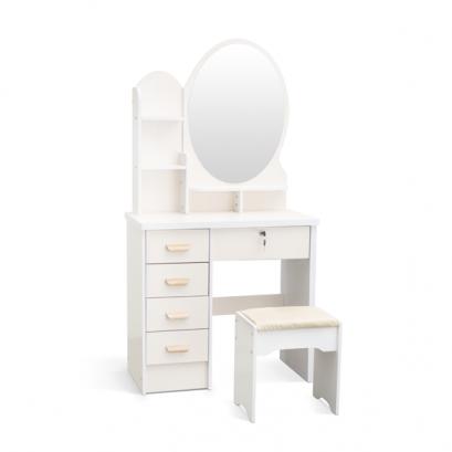 Kozmetický stolík so zrkadlom a stoličkou